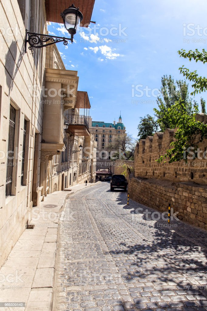 Narrow street of the old city of Baku. Republic of Azerbaijan zbiór zdjęć royalty-free