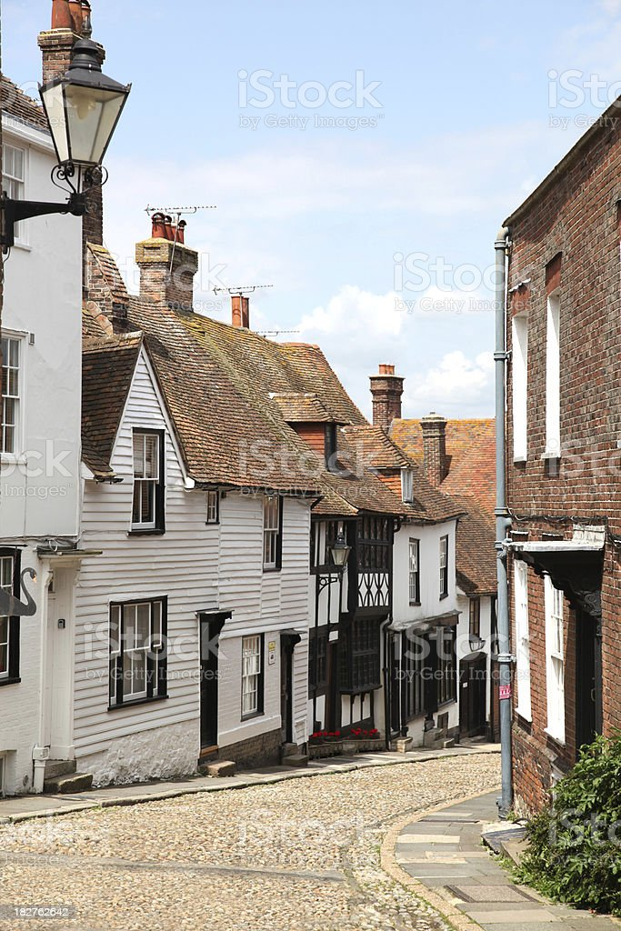 Narrow street through the town of Rye, East Sussex, UK stock photo