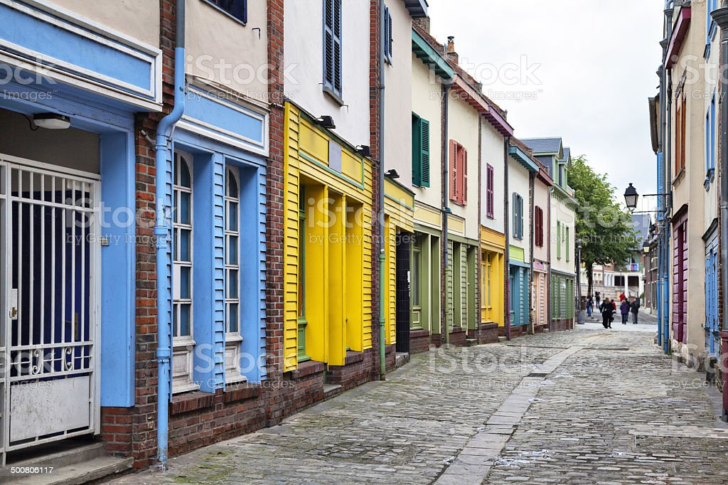 Narrow street with a small colorful houses stock photo