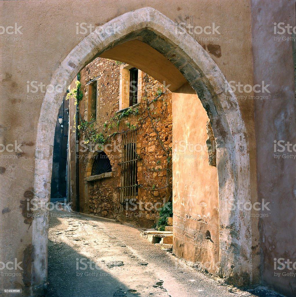 Narrow Street with arch royalty-free stock photo
