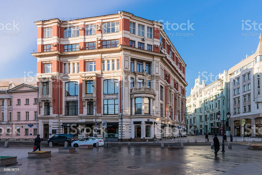 Narrow streets and old houses in the centre of Moscow. stock photo