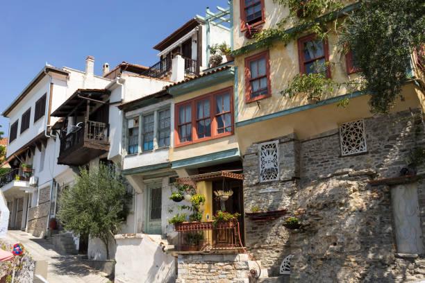 Narrow Streets and Old Houses of Kavala, Greece stock photo