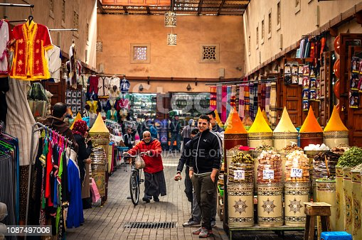 21 january 2018: Moorish bazaar and narrow streets of the Souk, with a view into the market areas showing the incredible variety of wares for sale and coloured spices, Marrakesh, Morocco
