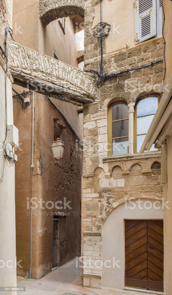 Narrow streets and stone houses in Bonifacio on the island of Corsica stock photo