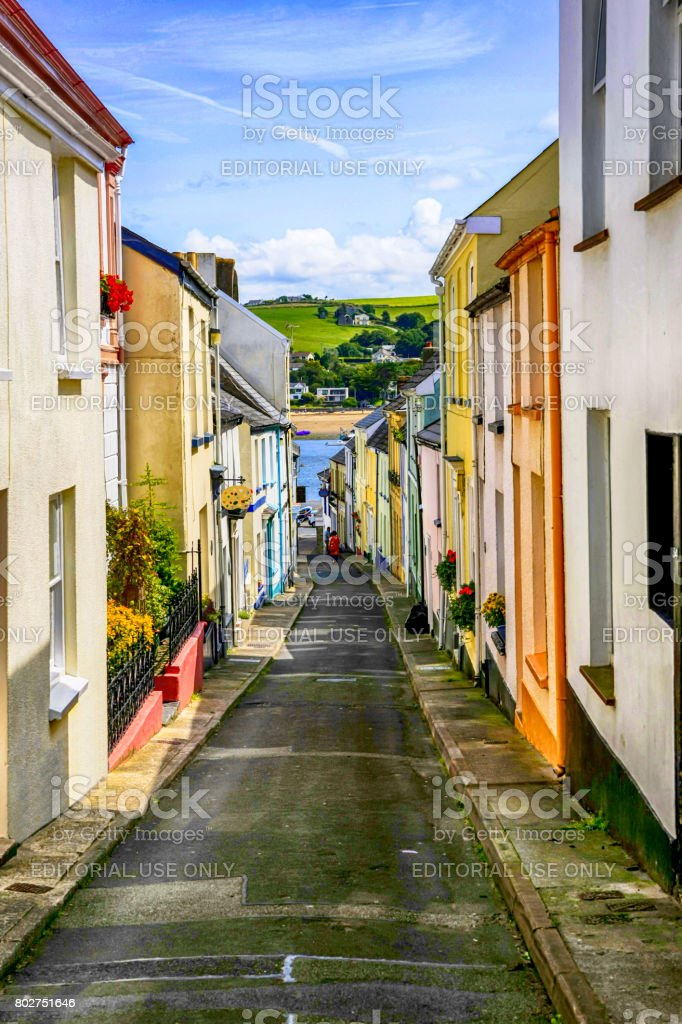 Narrow streets in the town of Appledore in Devon UK stock photo