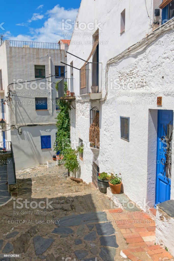 Narrow streets in the village of Cadaques, Catalonia, Spain stock photo