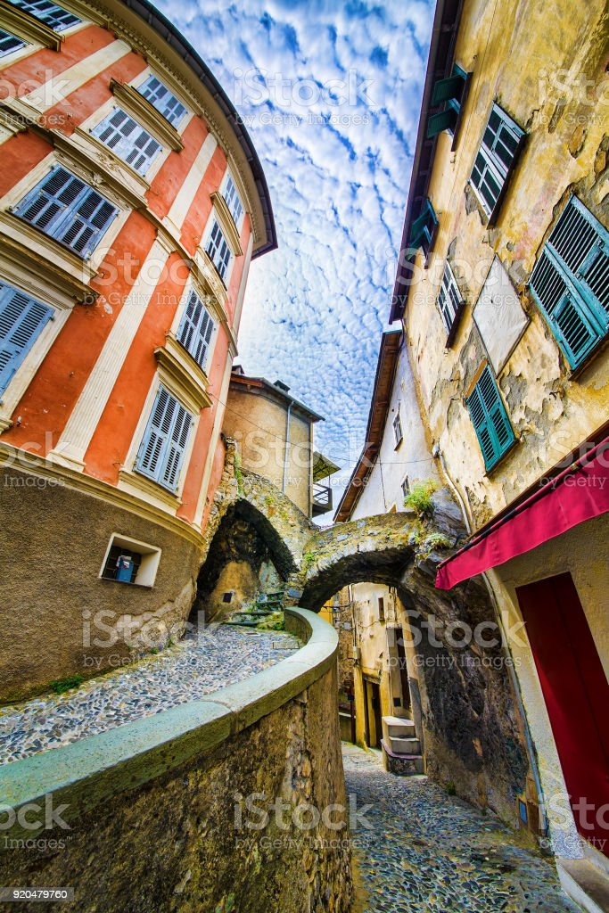 Narrow Streets in the Village of Saorge, Alpes-Maritimes, Provence, France stock photo