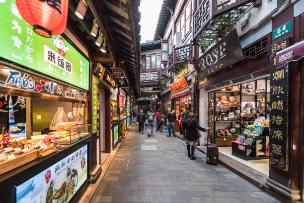 Narrow streets in the Yu Garden area of Old City Shanghai stock photo
