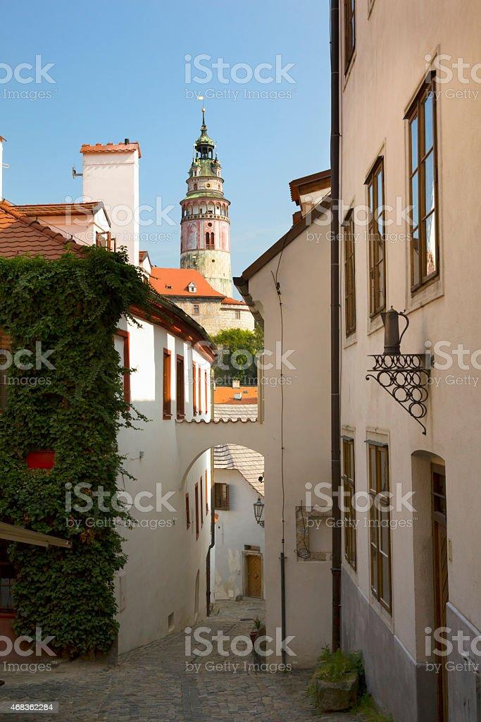 Narrow streets of Cesky Krumlov royalty-free stock photo