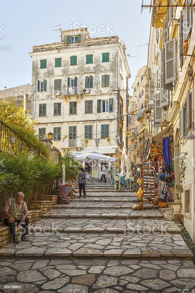 Narrow streets of historical city center of Kerkyra stock photo