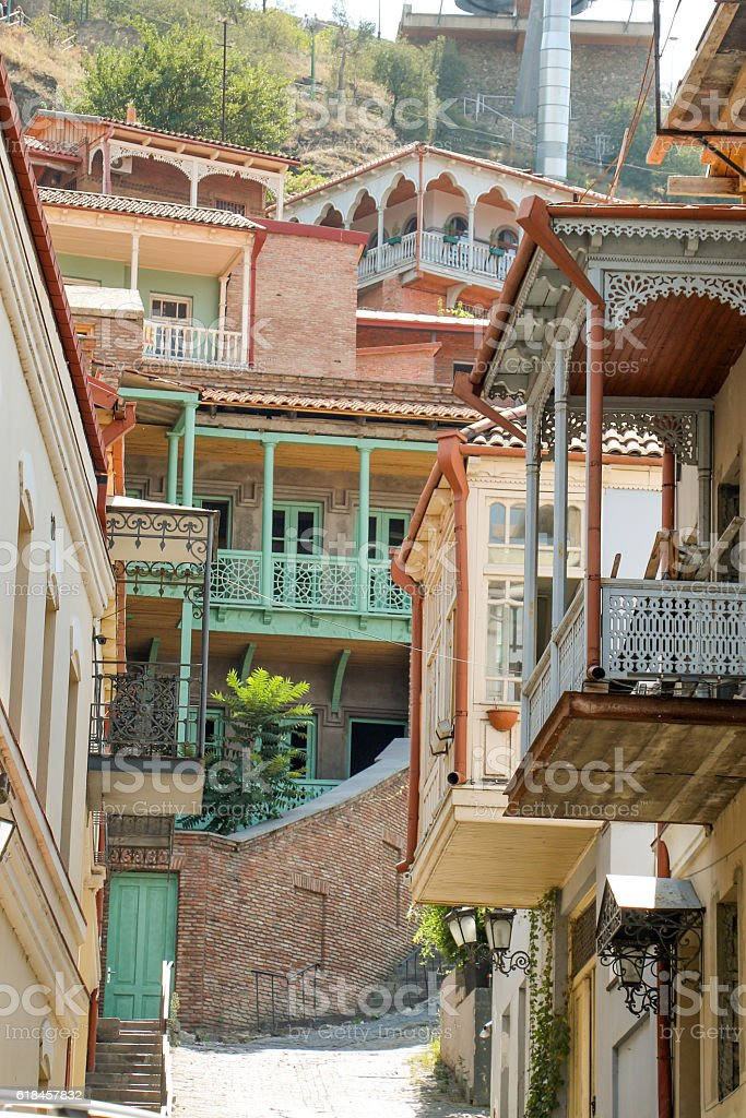 Narrow streets of Old Tbilisi stock photo