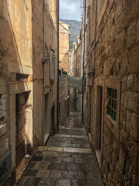 Narrow streets of Old Town, Dubrovnik, Croatia stock photo