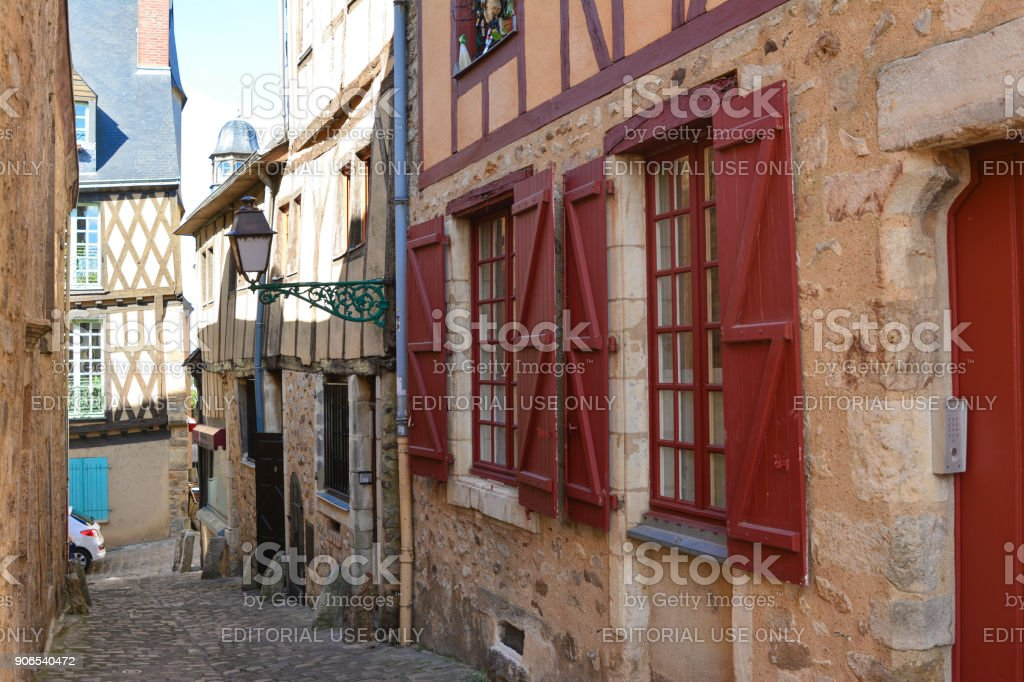 Narrow streets with medieval half-timbered houses stock photo