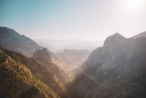A narrow valley in Picos de europa mountain range, northern Spain.