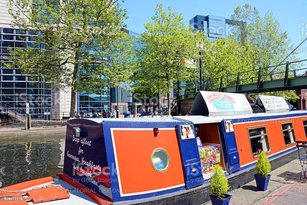 Narrowboat and ICC, Birmingham. stock photo