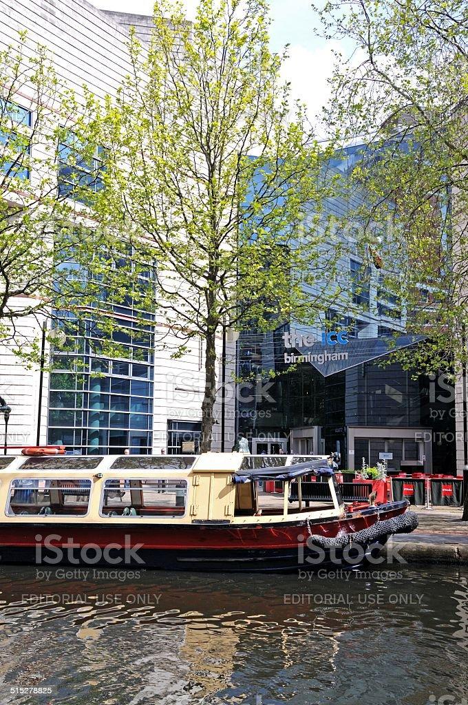 Narrowboat at rear of ICC, Birmingham. stock photo