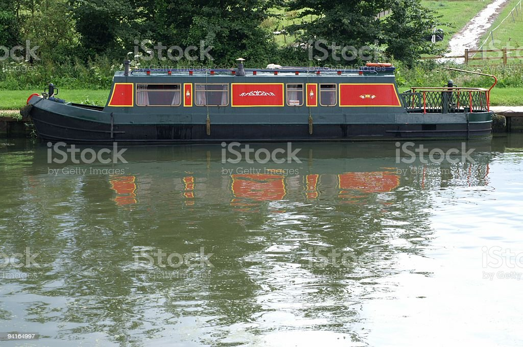 Narrowboat on a canal. royalty-free stock photo