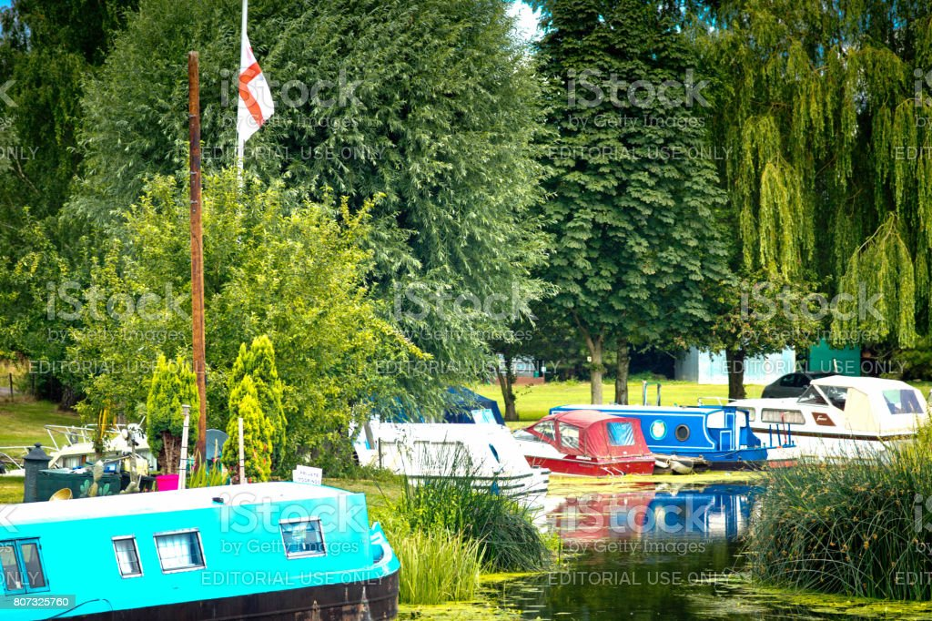 Narrowboat on the River Great Ouse stock photo
