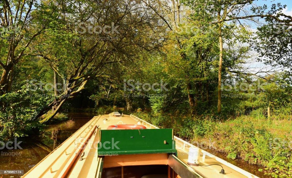 Narrow-boating in Autumn stock photo