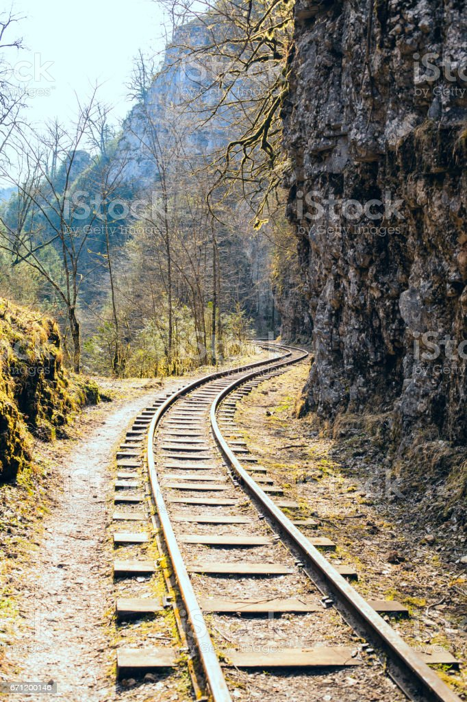 Narrow-gauge railway in the gorge stock photo