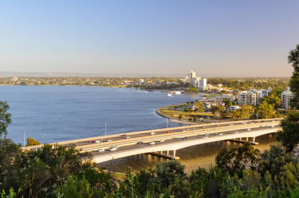 Narrows Bridge, Swan River and South Perth - Perth stock photo