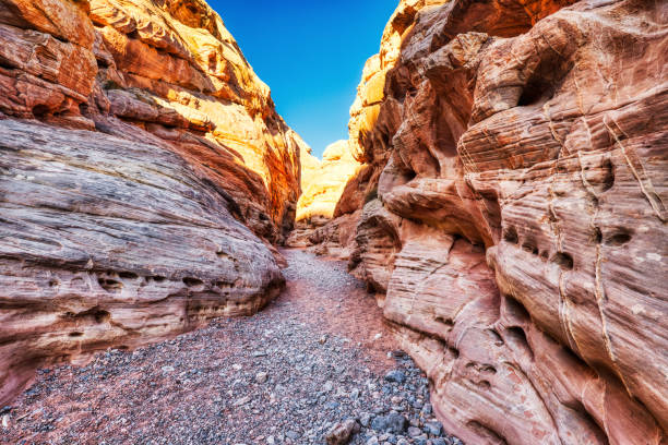 Narrows on White Domes Trail in Valley of Fire State Park near Las Vegas, Nevada stock photo