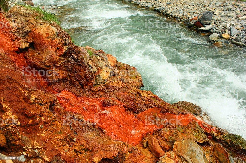 Narzan mineral water spring in Caucasus mountains, Georgia royaltyfri bildbanksbilder