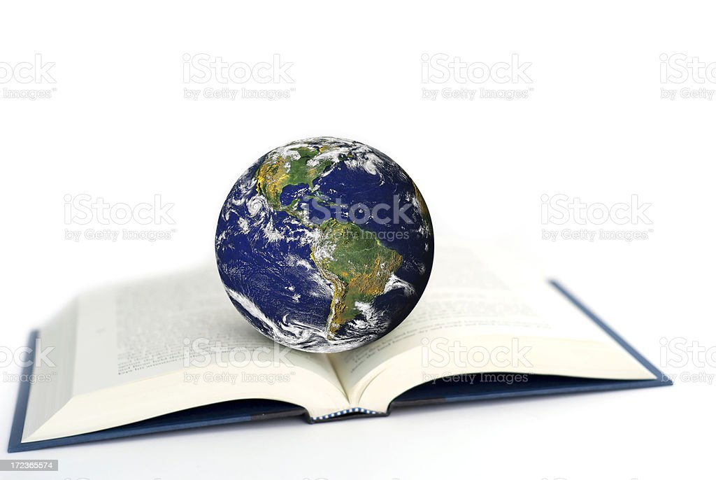 Nasa world globe on a open book stock photo