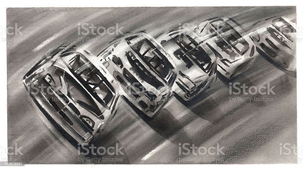 Nascar Illustration Black and White royalty-free stock photo
