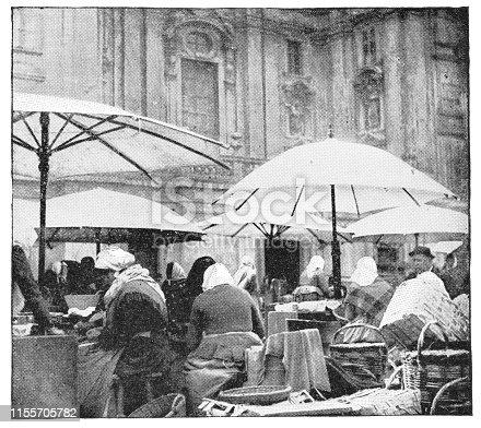 Naschmarkt street market in Vienna, Austria. The Austro-Hungarian Empire era (circa 19th century). Vintage halftone photo etching circa late 19th century.