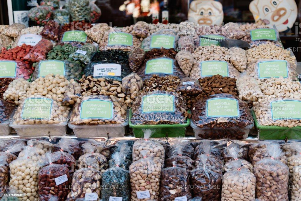 Naschmarkt in Vienna. It is a food and flea market. stock photo
