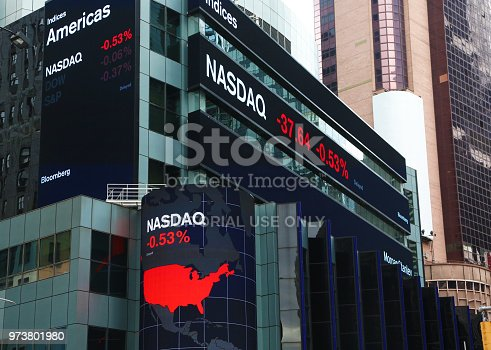 New York, USA - May 1, 2018: Nasdaq quotation reported on illuminated boards of Bloomberg in Times Square