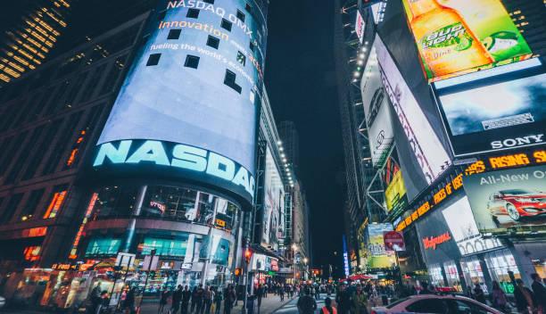 Nasdaq Stock Exchange billboard at Times square in New York City stock photo
