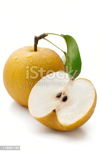 Group of Apples and Pears isolated on white.