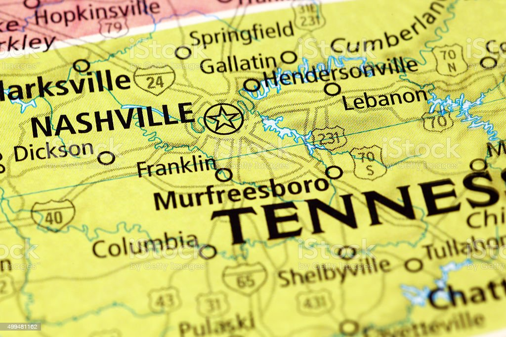 Nashville Area On A Map Stock Photo - Download Image Now ...
