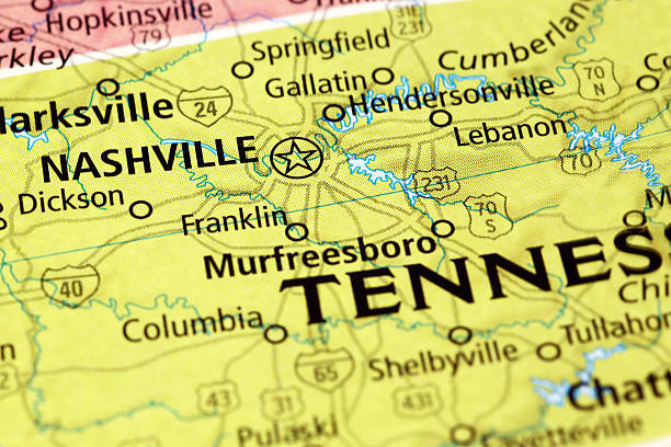 nashville area on a map - tennessee map stock photos and pictures