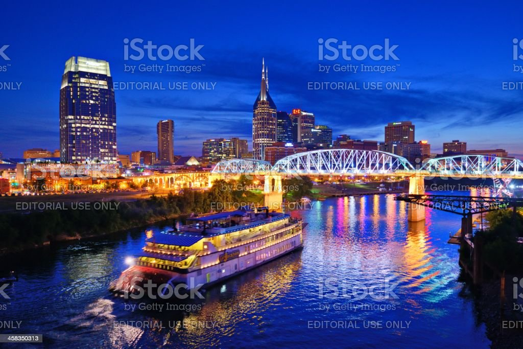 Nashville at the Cumberland River stock photo