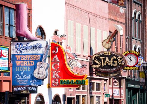 Nashville Broadway Street Honky Tonk Bars Stock Photo - Download Image Now