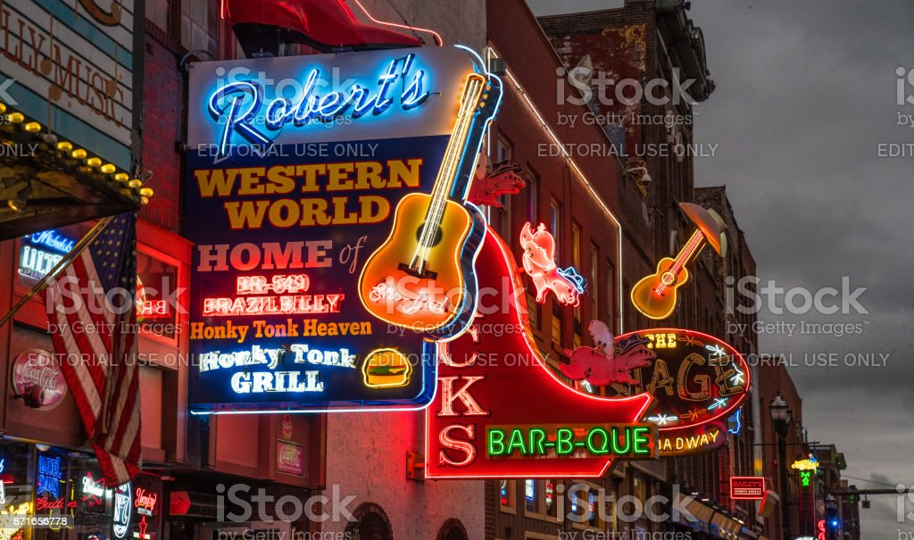 Nashville Broadway Strip stock photo