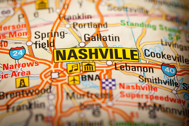 nashville city on a road map - tennessee map stock photos and pictures