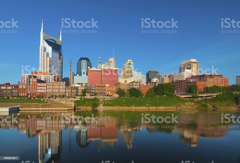 Nashville Downtown skyline and River royalty-free stock photo