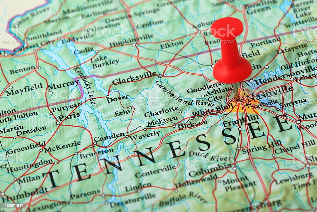 Nashville Map, Tennessee - USA stock photo