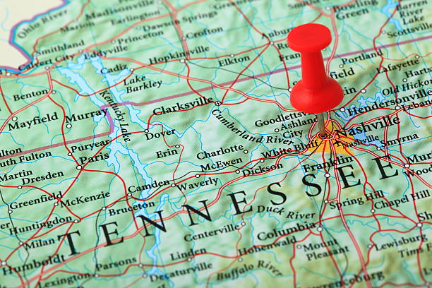 nashville map, tennessee - usa - tennessee map stock photos and pictures