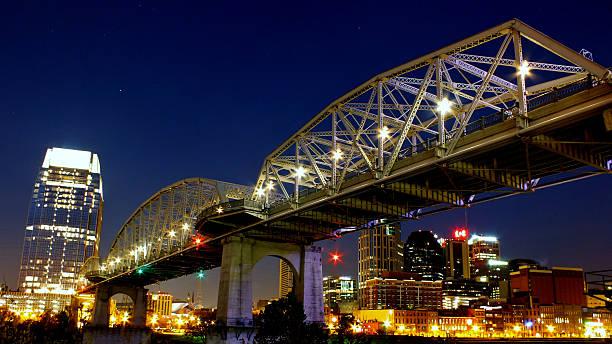 Nashville Pedestrian Bridge at Night stock photo