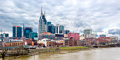 Skyline of downtown Nashville with clouds during dattime