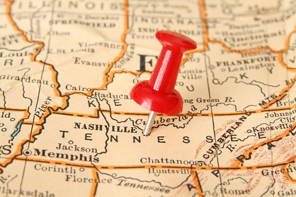 nashville - tennessee map stock photos and pictures