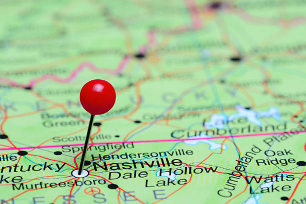 nashville pinned on a map of usa - tennessee map stock photos and pictures