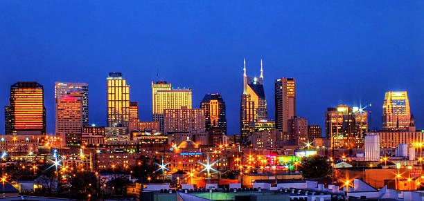 Nashville Skyline at Dusk stock photo