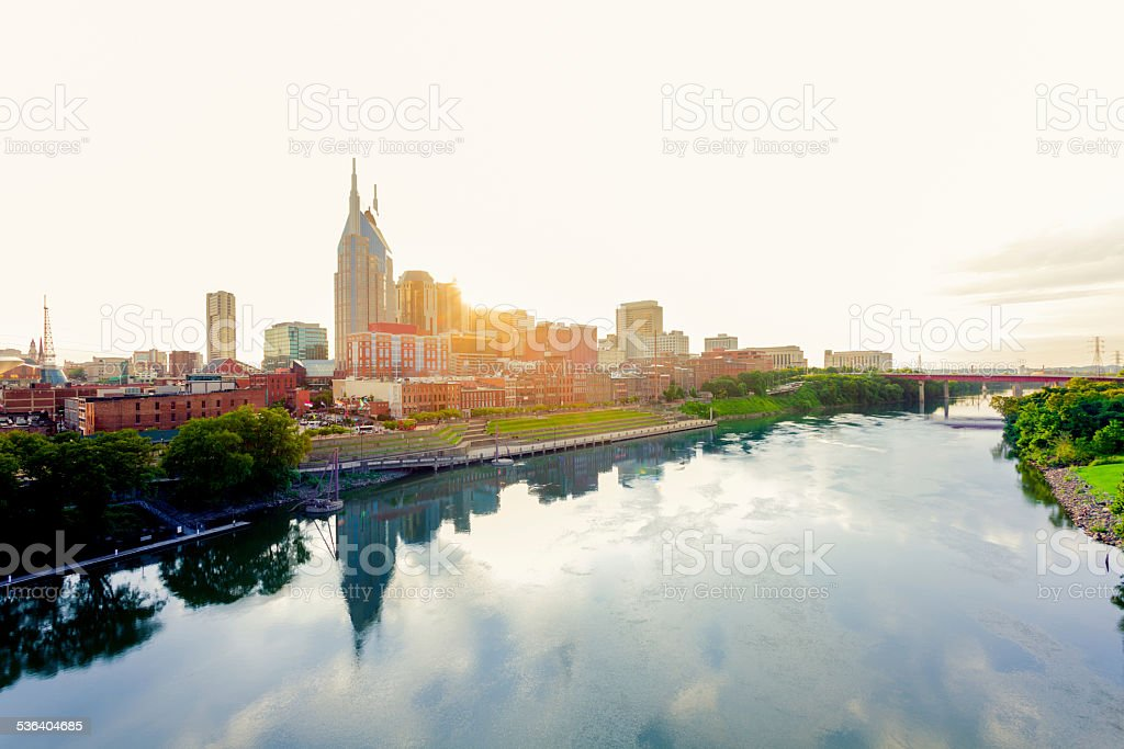Nashville Skyline at Sunrise,Tennessee, USA stock photo