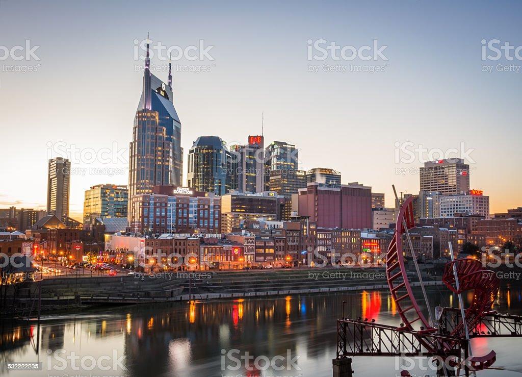 Nashville Skyline at Sunset stock photo